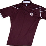 Mendon Basketball Mens Maroon White Holloway Explosion Golf Shirt