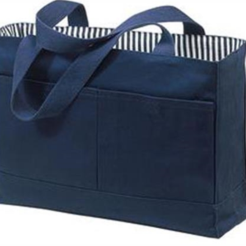 Brighton Track & Field/Cross Country Navy/Navy Stripes Double Pocket Canvas Tote