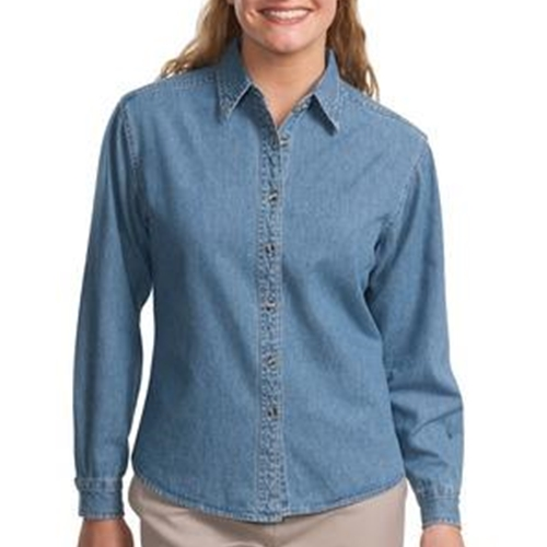 WITA Ladies Blue Denim Long Sleeve Shirt