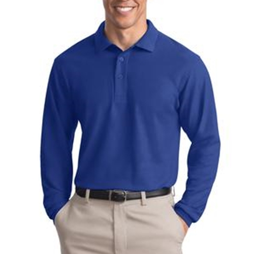 WITA Mens Royal Blue Long Sleeve Silk Touch Polo