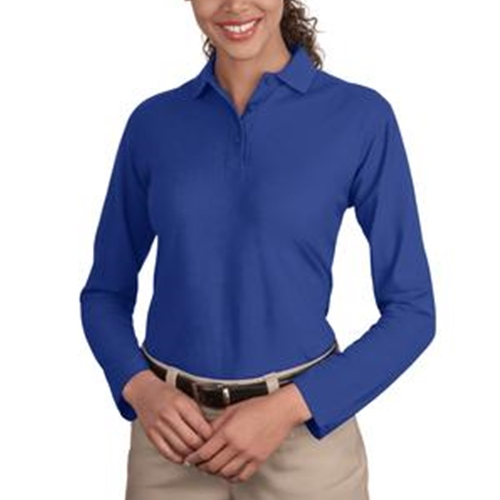 WITA Ladies Royal Blue Long Sleeve Silk Touch Polo