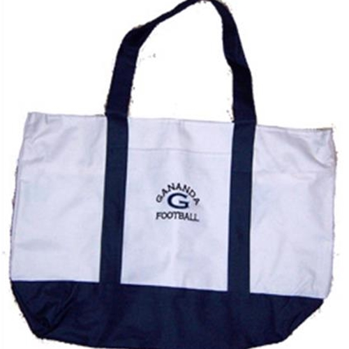 Gananda Football White/Navy Tote