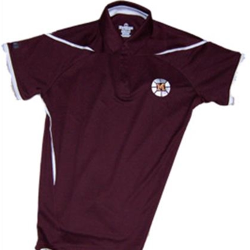 Mendon Basketball Ladies Maroon White Holloway Explosion Golf Shirt
