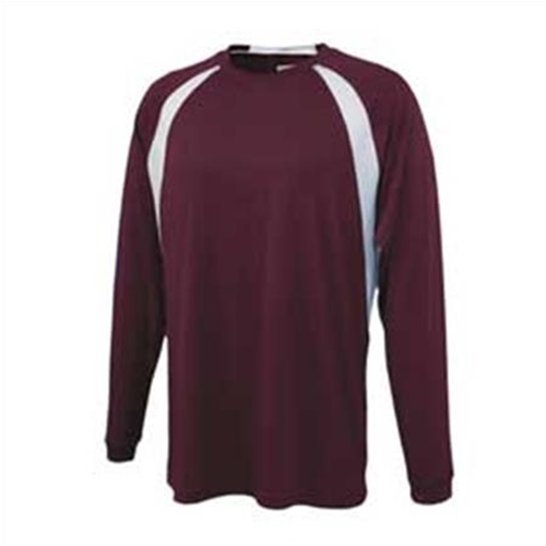 Mendon Basketball Youth Pennant Maroon White Long Sleeve Tee