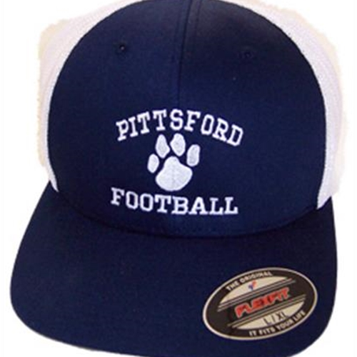 Pittsford Football Navy White Flex Fit Mesh Hat