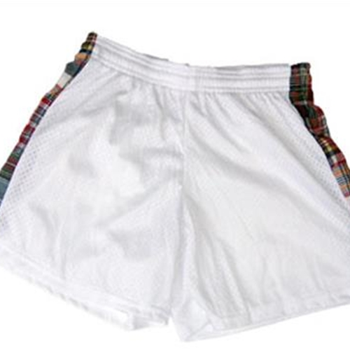Pittsford LAX Youth White Shorts with Madras Insert