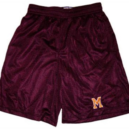 Pittsford Mendon Baseball Adult Maroon Mesh Shorts M Logo