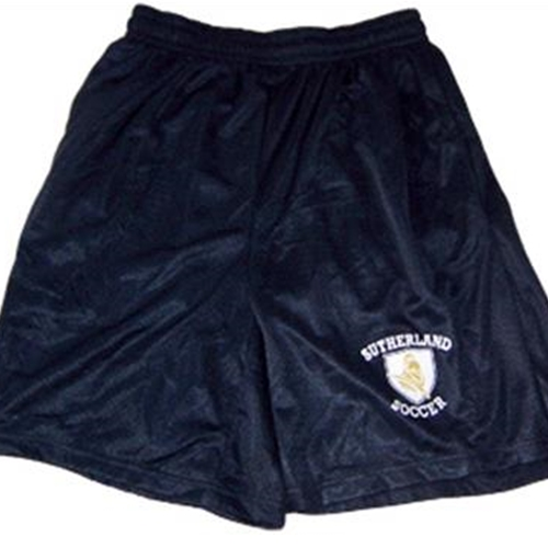 "Pittsford Sutherland Soccer Adult Navy 9"" Mesh Shorts with Pockets"
