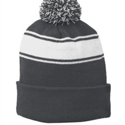 Siena Catholic Academy Iron Grey/White Knit Hat