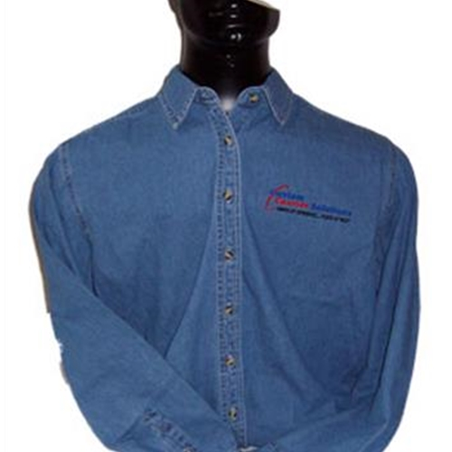 Custom Courier Solutions Ladies Long Sleeve Denim Shirt